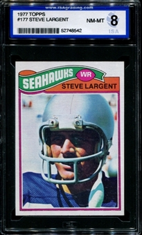 1977 Topps Football #177 Steve Largent Rookie ISA 8 (NM-MT) *8542