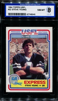 1984 Topps USFL Football #52 Steve Young Rookie ISA 8 (NM-MT) *8545