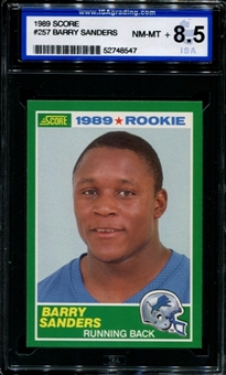 1989 Score Football #257 Barry Sanders Rookie ISA 8.5 (NM-MT+) *8547