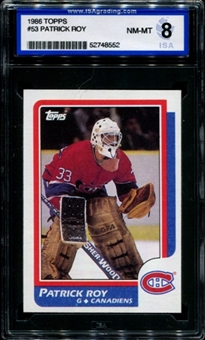 1986/87 Topps Hockey #53 Patrick Roy Rookie ISA 8 (NM-MT) *8552