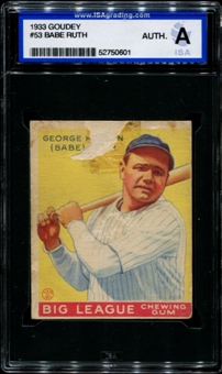 1933 Goudey Baseball #53 Babe Ruth ISA A (Authentic) *0601