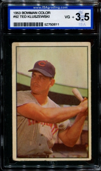 1953 Bowman Color Baseball #62 Ted Kluszewski ISA 3.5 (VG+) *0611