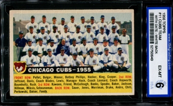 1956 Topps Baseball #11 Chicago Cubs Team (With Date) ISA 6 (EX-MT) *0649
