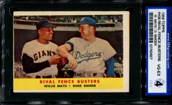 1958 Topps Baseball #436 Rival Fence Busters (Mays - Snider) ISA 4 (VG-EX) *0657