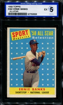 1958 Topps Baseball #482 Ernie Banks All Star ISA 5 (EX) *0659