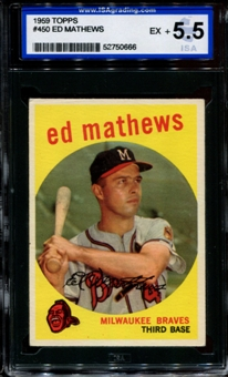 1959 Topps Baseball #450 Ed Mathews ISA 5.5 (EX+) *0666