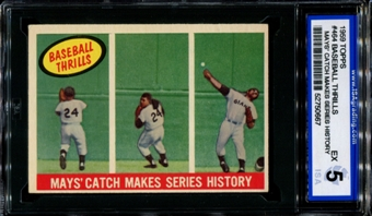 1959 Topps Baseball #464 Willie Mays' Catch Makes Series History ISA 5 (EX) *0667