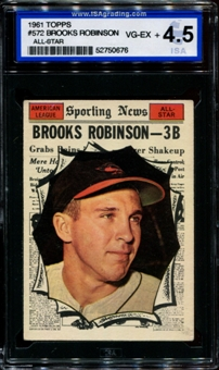 1961 Topps Baseball #572 Brooks Robinson All Star ISA 4.5 (VG-EX+) *0676