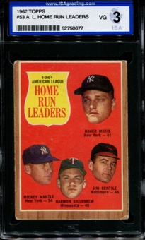 1962 Topps Baseball #53 AL Home Run Leaders ISA 3 (VG) *0677