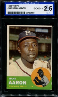 1963 Topps Baseball #390 Hank Aaron ISA 2.5 (GOOD+) *0683