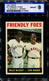 1964 Topps Baseball #41 Friendly Foes (McCovey) ISA 8 (NM-MT) *0684