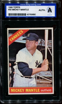 1966 Topps Baseball #50 Mickey Mantle ISA A (Authentic) *0692