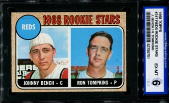 1968 Topps Baseball #247 Johnny Bench Rookie ISA 6 (EX-MT) *0701