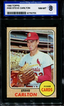 1968 Topps Baseball #408 Steve Carlton ISA 8 (NM-MT) *0705