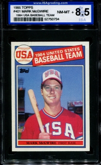 1985 Topps Baseball #401 Mark McGwire Rookie ISA 8.5 (NM-MT+) *0734