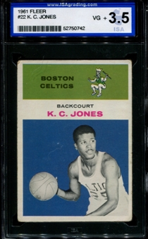 1961/62 Fleer Basketball #22 K.C. Jones ISA 3.5 (VG+) *0742