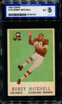 1959 Topps Football #140 Bobby Mitchell Rookie ISA 5 (EX) *0752