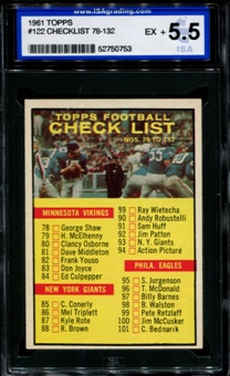 1961 Topps Football #122 Checklist ISA 5.5 (EX+) *0753