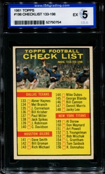 1961 Topps Football #198 Checklist ISA 5 (EX) *0754