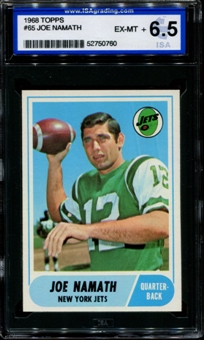 1968 Topps Football #65 Joe Namath ISA 6.5 (EX-MT+) *0760