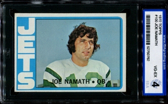 1972 Topps Football #100 Joe Namath ISA 4 (VG-EX) *0762