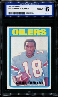 1972 Topps Football #244 Charlie Joiner Rookie ISA 6 (EX-MT) *0764