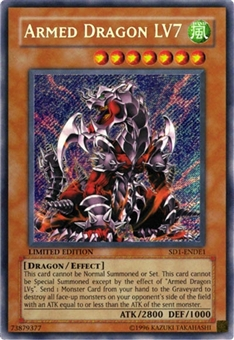 Yu-Gi-Oh SD Dragon's Roar Single Armed Dragon LV7 Secret Rare SD1