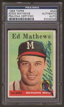 1958 Topps Eddie Mathews #440 Autographed Card PSA Slabbed (5045)