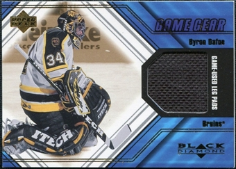 2000/01 Upper Deck Black Diamond Game Gear #LBD Byron Dafoe Pad