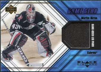 2000/01 Upper Deck Black Diamond Game Gear #LMB Martin Biron Pad
