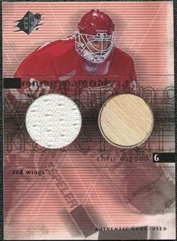 2000/01 Upper Deck SPx Winning Materials #CO Chris Osgood Jersey Stick