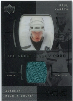 2000/01 Upper Deck Ice Game Jerseys #JCPK Paul Kariya
