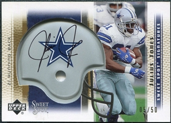 2005 Upper Deck Sweet Spot Signatures Gold #SSJJ Julius Jones Autograph /50