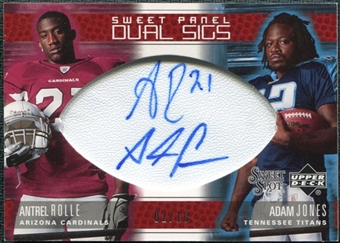 2005 Upper Deck Sweet Spot Sweet Panel Dual Signatures #RJ Antrel Rolle Adam Jones Autograph 2/10