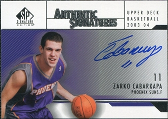 2003/04 Upper Deck SP Signature Edition Signatures #ZC Zarko Cabarkapa Autograph