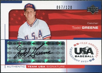 2004 Upper Deck USA Baseball 25th Anniversary Signatures Black Ink #GREE Todd Greene Autograph /120