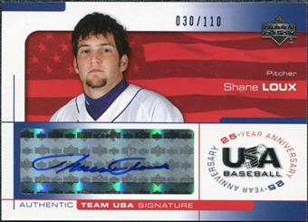 2004 Upper Deck USA Baseball 25th Anniversary Signatures Blue Ink #LOUX Shane Loux Autograph /110