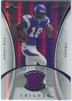 2007 Upper Deck Trilogy Materials Silver #SR Sidney Rice /199