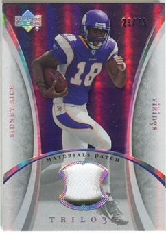 2007 Upper Deck Trilogy Materials Patch #SR Sidney Rice /79