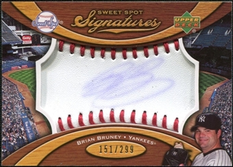 2007 Upper Deck Sweet Spot Signatures Red Stitch Blue Ink #BR Brian Bruney Autograph /299