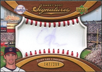 2007 Upper Deck Sweet Spot Signatures Red Stitch Blue Ink #CL Cliff Lee Autograph /299