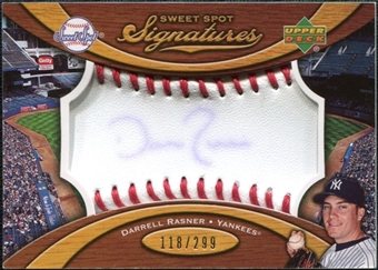 2007 Upper Deck Sweet Spot Signatures Red Stitch Blue Ink #DR Darrel Rasner /299