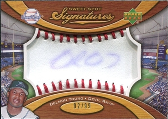 2007 Upper Deck Sweet Spot Signatures Red Stitch Blue Ink #DY Delmon Young /99