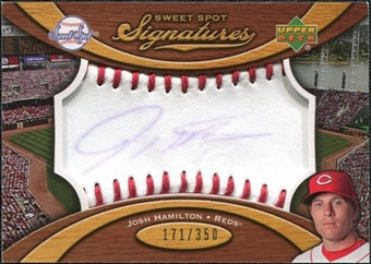 2007 Upper Deck Sweet Spot Signatures Red Stitch Blue Ink #JH Josh Hamilton /350