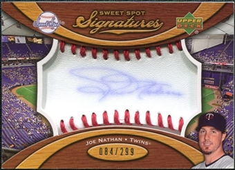2007 Upper Deck Sweet Spot Signatures Red Stitch Blue Ink #JN Joe Nathan /299