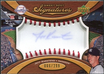 2007 Upper Deck Sweet Spot Signatures Red Stitch Blue Ink #KA Jeff Karstens Autograph /299