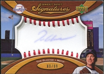 2007 Upper Deck Sweet Spot Signatures Red Stitch Blue Ink #TG Tom Glavine Autograph /99