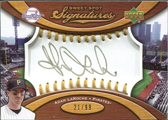2007 Upper Deck Sweet Spot Signatures Gold Stitch Gold Ink #AL Adam LaRoche /99