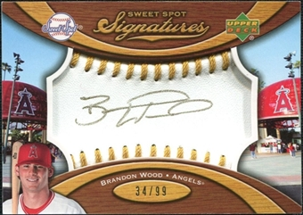 2007 Upper Deck Sweet Spot Signatures Gold Stitch Gold Ink #BW Brandon Wood /99