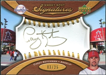 2007 Upper Deck Sweet Spot Signatures Gold Stitch Gold Ink #CK Casey Kotchman /25